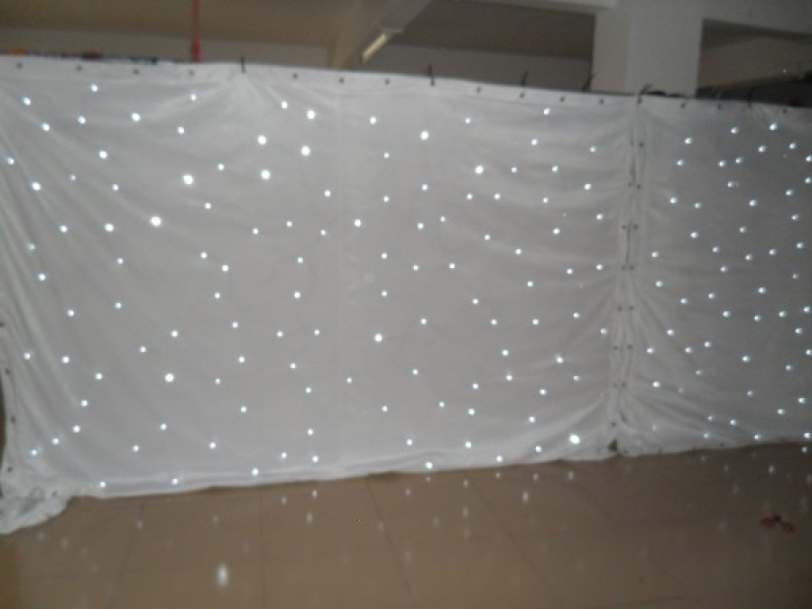 3*8M Wedding Backdrop Single Color White LED Star Curtain  LED Motion  Drape,LED Video Curtain, LED Dackdrop,Stage Curtains